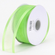 Apple Green Organza Ribbon Two Striped Satin Edge 2.2cm 25 Yards