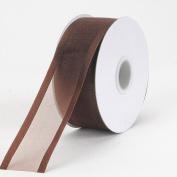 Chocolate Brown Organza Ribbon Two Striped Satin Edge 2.2cm 25 Yards