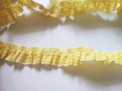 2 Yards - 1 Side Trim - Yellow Gingham Elastic Trim - Size 18 Mm