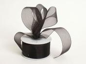 Sheer Organza Ribbon 2.5cm - 1.3cm 25 Yards Black, 30 more Colours