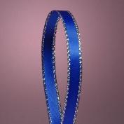 Royal Blue Satin Ribbon with Silver Border, 0.6cm X 50Yd