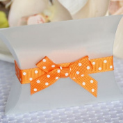 Self Adhesive Grosgrain Bow and Ribbon - Orange w/ White Polka Dots