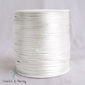 White 2mm x 100 yards Rattail Satin Nylon Trim Cord Chinese Knot