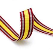 Grosgrain Stripe Ribbon 1.6cm Burgundy, Yellow and Grey 10 Yards