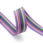 Grosgrain Stripe Ribbon 1.6cm Purple and Multicoloured Stripes 10 Yards