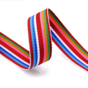 Grosgrain Stripe Ribbon 1.6cm Red and Multicoloured Stripes 10 Yards
