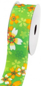 LUV Ribbons Creative Ideas Grosgrain Sakura Flower Print Ribbon, 3.8cm , Apple Green