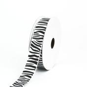 Creative Ideas Grosgrain Zebra Print Ribbon, 2.2cm , White/Black