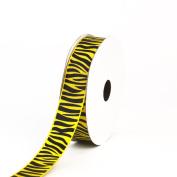 Creative Ideas Grosgrain Zebra Print Ribbon, 2.2cm , Yellow/Black