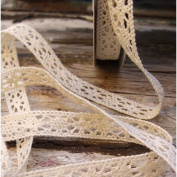 1.3cm Crochet Lace Cotton Ribbon Trim Pattern Gift Wrap Decor Ideas 10 Yard Roll - Ivory