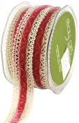 Crochet Edge Velvet Centre Ribbon 2.5cm X10 Yards-Ivory/Rose