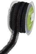 May Arts 2.5cm Wide Ribbon, Black Crochet with Black Velvet