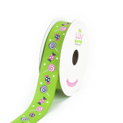 LUV RIBBONS Grosgrain Candy and Lollipop Ribbon by Creative Ideas, 2.2cm , Apple Green