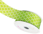 LUV RIBBONS Fabric Ribbon by Creative Ideas, 3.8cm , Satin Geometric, Apple Green