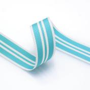 Grosgrain Stripe Ribbon 2.2cm Sky Blue and White 10 Yards