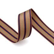 Grosgrain Stripe Ribbon 2.2cm Taupe, Navy and Orange 10 Yards