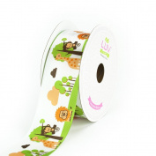 LUV RIBBONS Satin Jungle Theme Ribbon by Creative Ideas, 3.8cm , White
