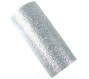Offray Sparkle Tulle Craft Ribbon, 15cm by 25-Yard Spool, Silver