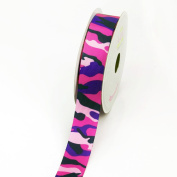 LUV Ribbons Grosgrain Camouflage Print Ribbon, 2.2cm , Hot Pink