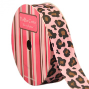 2.2cm Pink w/ Leopard Animal Print Grosgrain Ribbon 10 yard Reel