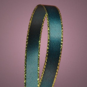 Hunter Green Satin Ribbon with Gold Edges, 1cm X 50Yd