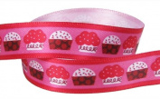 4yd (2 x 2yd) 1.6cm Valentines Day Satin Ribbon--Cupcake--Red