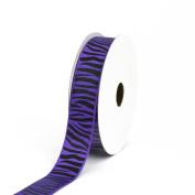 Creative Ideas Grosgrain Zebra Print Ribbon, 2.2cm , Purple/Black