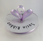 1cm Lavender with Silver Edge Satin Ribbon 50 Yards Spool Single Faced Polyester