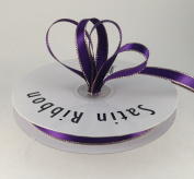 1cm Purple Satin Ribbon with Gold Edge 50 Yard Spool 100% Polyester Single Faced