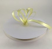 1cm Baby Maize/Yellow with Silver Edge Satin Ribbon 50 Yards Spool Single Faced Polyester