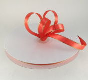 1cm Coral with Gold Edge Satin Ribbon 50 Yards Spool Single Faced Polyester