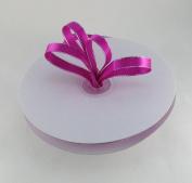 1cm Fuchsia with Silver Edge Satin Ribbon 50 Yards Spool Single Faced Polyester