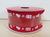 Jo-ann's Holiday Inspirations Ribbon,red Velour with White Trees & Presents,3.8cm x 12ft.