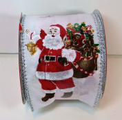 Jo-ann's Holiday Inspirations Ribbon,Santa Claus with Sack of Presents & Skeigh,silver Glitter,6.4cm x 12ft.