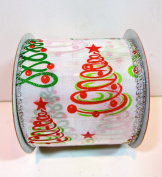 Jo-ann's Holiday Inspirations Ribbon,swirl Christmas Trees,wire Edge,6.4cm x 12ft.