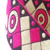 Neotrims Decorative Aztec Style Chequered Mexican Jacquard Trimming Ribbon, Lightweight Ethnic Trim with Chequered Target Design. Comes in 4 Great Colours; Royal Blue, Cerise Pink, Olive Green & Turquoise Blue.