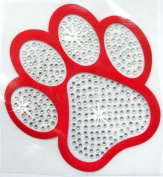 Satin Diamante Paw 13cm Iron-On