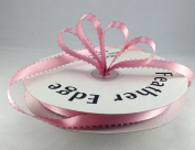1cm Rosy Mauve Double Faced Satin Ribbon with PICOT Feather Edge 50 Yard Spool 100% Polyester