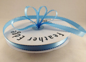 1cm Blue Mist Double Faced Satin Ribbon with PICOT Feather Edge 50 Yard Spool 100% Polyester