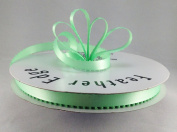 1cm Mint Green Double Faced Satin Ribbon with PICOT Feather Edge 50 Yard Spool 100% Polyester
