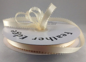 1cm Ivory Double Faced Satin Ribbon with PICOT Feather Edge 50 Yard Spool 100% Polyester