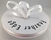 1cm White Double Faced Satin Ribbon with PICOT Feather Edge 50 Yard Spool 100% Polyester