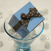 Favour Box - Light Blue with Polka Dot Grosgrain Ribbon
