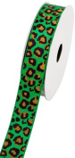 LUV Ribbons Creative Ideas Grosgrain Leopard Print Ribbon, 2.2cm , Green/Black
