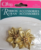 Offray Ribbon Trim Craft FABRIC FLOWERS w 7 GOLDEN BEADS in Centre 2.5cm - 1.9cm Diameter SHIMMERY GOLD Colour FLOWER