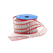 Berwick 6.4cm Wide by 10-Yard Spool Wired Edge Disco Plaid Craft Ribbon, Red/Silver