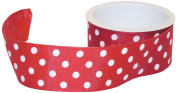 The Gift Wrap Company Sophisticated Spots 3.8cm Wired Edge Ribbon, Red and White