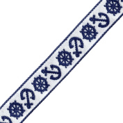 Venus Ribbon 4324-F 1.6cm Nautical Jacquard Ribbon, 5-Yard, White/Navy