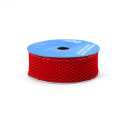 Berwick 3.8cm Wide by 10-Yard Spool Wired Edge Fishnet Craft Ribbon, Scarlet