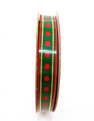 Jo-ann's Holiday Inspirations Green Polka Dot Ribbon,green/red Polka Dots,1cm x 9ft.